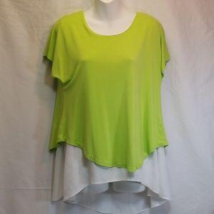 Zara Woman Layered Blouse Hi Low Green White XL